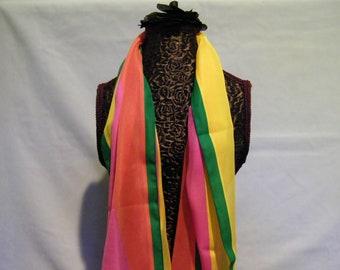 Vintage Pink Green Yellow Stripe Semi Shear Long Scarf