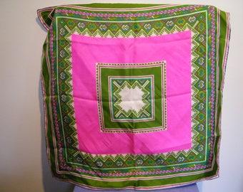 Vintage Vera Hot Pink Lime Green Geometric Silk Scarf
