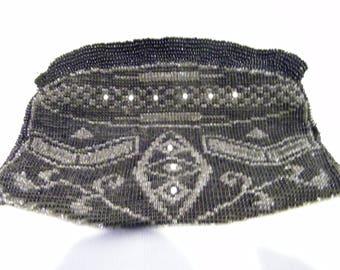 Vintage Black Beaded Geometric Wristlet Bag Czechslovakia