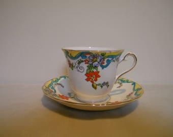 Vintage Rosina Floral Enamel Cup Saucer England