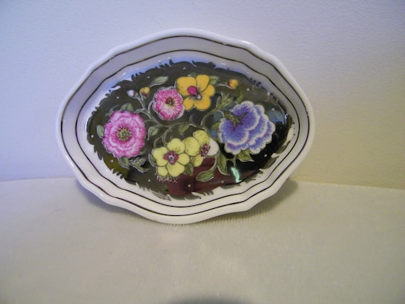 Vintage Wedgwood Bone China Floral Lustre Susie Cooper Pin Trinket Jewelry Tray