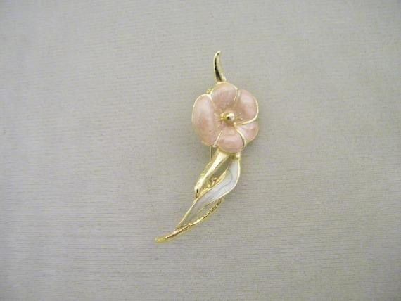 Vintage Enamel Pansy Flower Pin Brooch - image 1
