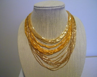 Vintage Yellow Orange Multi Strand Glass Bead Necklace