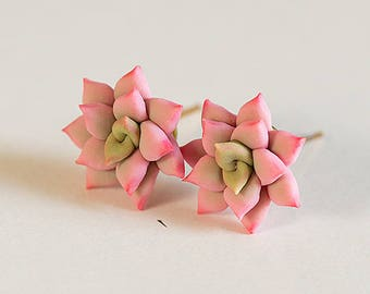 Pink Succulent Earrings. Gift. Succulent Stud earrings. Cactus earrings post. Gift under 20. Polymer clay jewelry. Wedding Succulent Jewelry