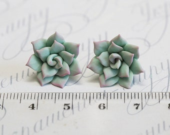 Mint Succulent Earrings. Mothers day Gift. Succulent stud earrings. Gift wrap. Polymer clay jewelry. Plant Earrings Post. Succulent Jewelry