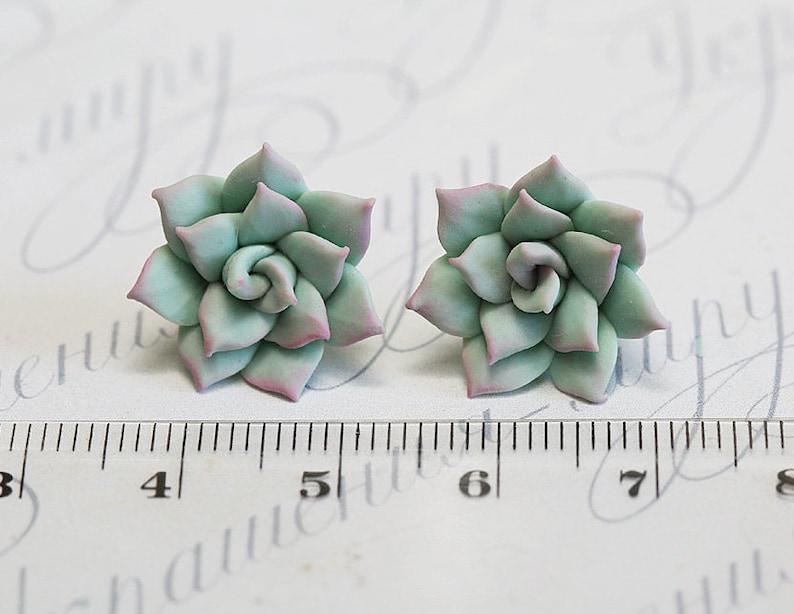 Mint Succulent Earrings. Succulent stud earrings. Gift under 1
