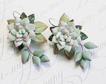 Mint Succulent Earrings. Gift wrap. Dangle earrings. Polymer clay jewelry. Miniature Plant Earrings. Wedding Succulent Jewelry. Gift