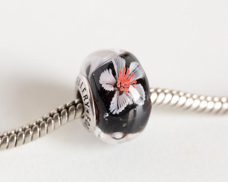 Handmade Lampwork glass bead Flower charm bead European Bracelet charm Limited edition Murano glass bead Black white floral bead