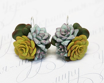 Yellow Green Succulent Earrings. Succulent plant jewelry. Botanical jewelry Polymer clay Miniature Plant Earrings. Wedding Succulent Jewelry