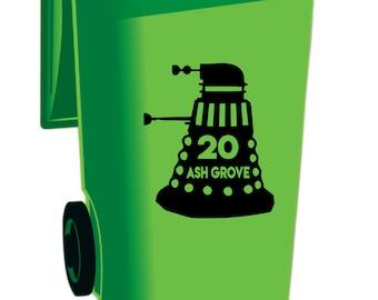 Personalised Dalek vinyl bin sticker/decal