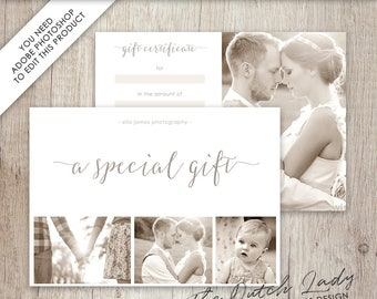 photography gift certificate template photo gift card design 8 instant download layered psd files