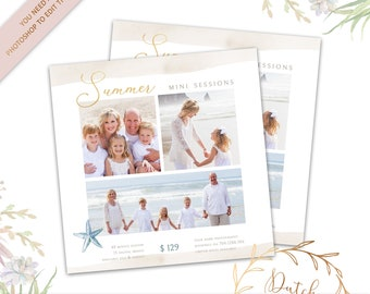 cdf2d7c3ef Mini Session Card Template - Summer Beach Photography Shoot - Photo Studio  Marketing - Starfish - PSD File - INSTANT DOWNLOAD - Design  42