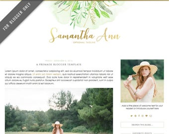 Blogger Template - Mobile Responsive & Dropdown Menu - Watercolor Design Blog - INSTANT DOWNLOAD - Samantha Ann Theme
