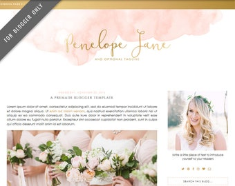 Blogger Template - Mobile Responsive & Dropdown Menu - Watercolor Design Blog - INSTANT DOWNLOAD - Penelope Jane Theme