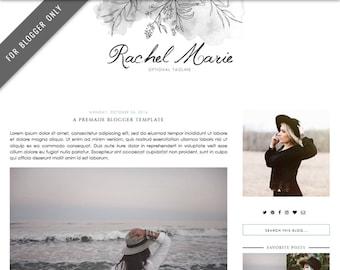 Blogger Template - Mobile Responsive & Dropdown Menu - Watercolor Design Blog - INSTANT DOWNLOAD - Rachel Marie Theme