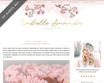Blogger Template - Mobile Responsive & Dropdown Menu - Watercolor Design Blog - INSTANT DOWNLOAD - Isabelle Amanda Theme