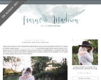 Blogger Template - Mobile Responsive & Dropdown Menu - Watercolor Design Blog - INSTANT DOWNLOAD - Fearne Madison Theme