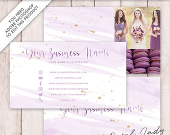 Photoshop Business Card Template - 3 Part Design - INSTANT DOWNLOAD - Layered .PSD Files - Design #3