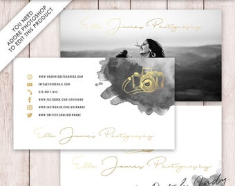Photoshop Business Card Template - 3 Part Design - INSTANT DOWNLOAD - Layered .PSD Files - Design #9