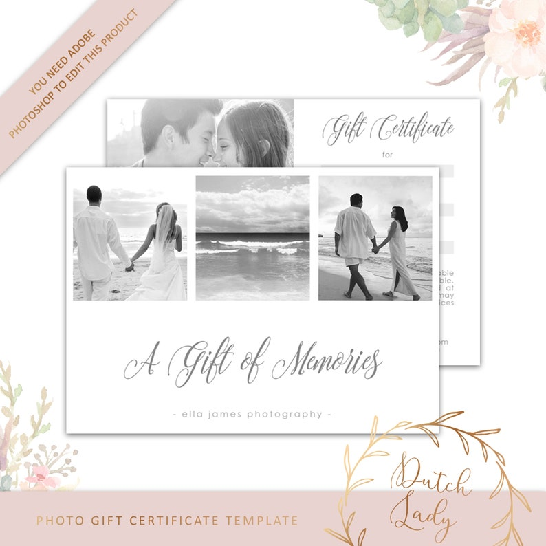 Photography Gift Certificate Template Photo Gift Card Etsy