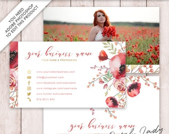 Photoshop Business Card Template - 3 Part Design - INSTANT DOWNLOAD - Layered .PSD Files - Design #6