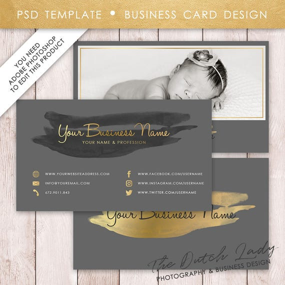 Photoshop business card template golden watercolor visite etsy image 0 cheaphphosting Gallery