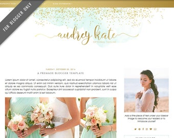 Blogger Template - Mobile Responsive & Dropdown Menu - Watercolor Design Blog - INSTANT DOWNLOAD - Audrey Kate Theme