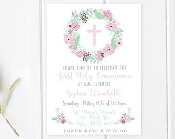 Communion Invitations, First Holy Communion, First Communion, Communion Invites, Printable Invitations, Digital, Floral, Boho, Flowers [605]