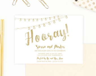 Engagement Party Invitation, Gold Engagement Party Invitation, Celebrate Engagement Invitation, String Lights Engagement Party Invite [247]
