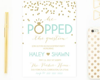 Engagement Party Invitation, Engagement Invites, Gold Engagement Invitation, Printable Invitations, Engagement Invitations, Engaged [609]