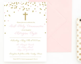Communion Invitations, First Holy Communion, First Communion, Communion Invites, Printable Invitations, Digital Invites, Daughter [604]
