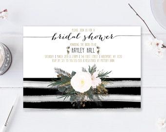 Bridal Shower Invitation, Bridal Shower Invite, Floral Bridal Shower Invitation, Printable Bridal Shower Invitation, Bridal Shower [394]