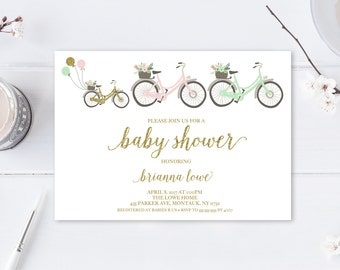 Baby Shower Invitation, Baby Shower, Gender Neutral Shower, Gender Neutral, Printable Invitation, Bicycle, Gold, Gender Neutral Invite [602]