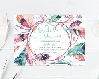 Bridal Shower Invitation, Bridal Shower Invite, Boho Bridal Shower Invitation, Vintage Bridal Shower Invitation, Boho Invites, Feather [467]