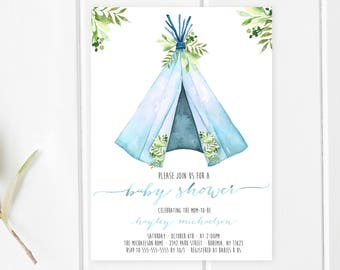 Baby Shower Invitation, Boho, Boho Shower Invites, Bohemian, Teepee, Baby Shower Invites for Boys, Baby Boy, Boy Baby Shower Invites [378]