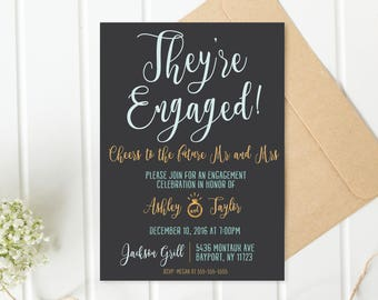 Engagement Party Invitation, Engagement Invites, Rose Gold Engagement Invites, Printable Invitations, Engagement Invitations, Engaged [547]