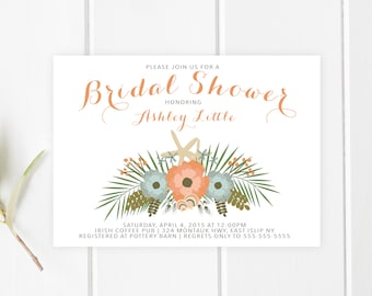 Bridal Shower Invitation, Beachy Bridal Shower, Beach Bridal Shower Invites, Bridal Shower, Shower Invitations, Bridal Shower Invites [267]