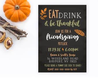thanksgiving invitation friendsgiving thanksgiving potluck etsy