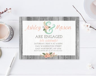 Engagement Party Invitation, Engagement Party Invitation Boho, Engagement Party Invitation Printable, Engagement Party Invites, Rustic [222]
