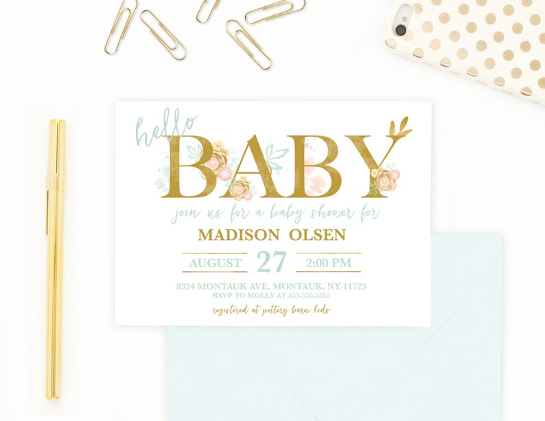 Baby Shower Invitation Boho Invitations Gender Neutral Invite Welcome 507