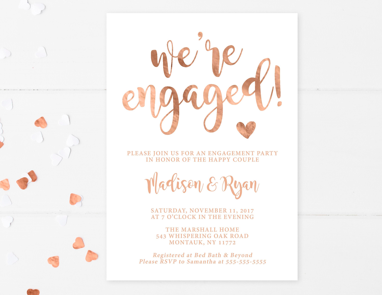 engagement party invitation we 39 re engaged rose gold. Black Bedroom Furniture Sets. Home Design Ideas