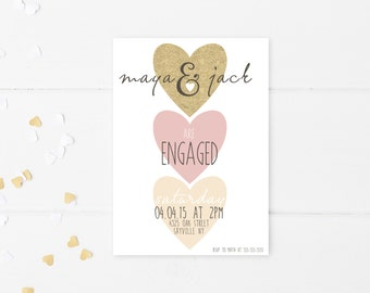 Engagement Party Invitation, We're Engaged, Printable Engagement Party Invitation, Engagement Party Invites, Hearts, Engagement Invite [255]
