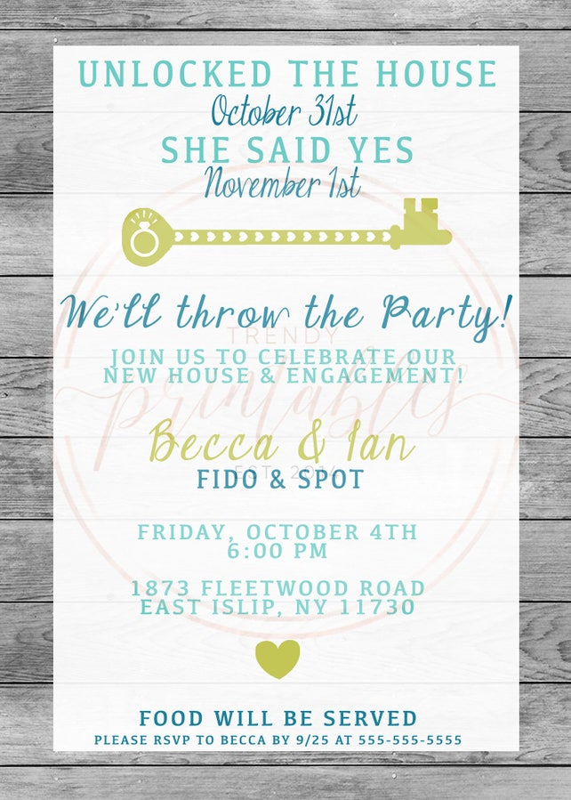 Engagement Party Invitation Housewarming Our New House Engaged And