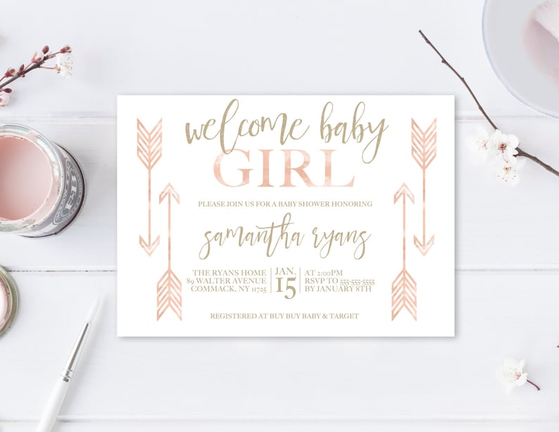 Baby Shower Invitation Boho Invitations Girl Invite Welcome