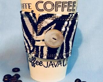 Zebra coffee cozy