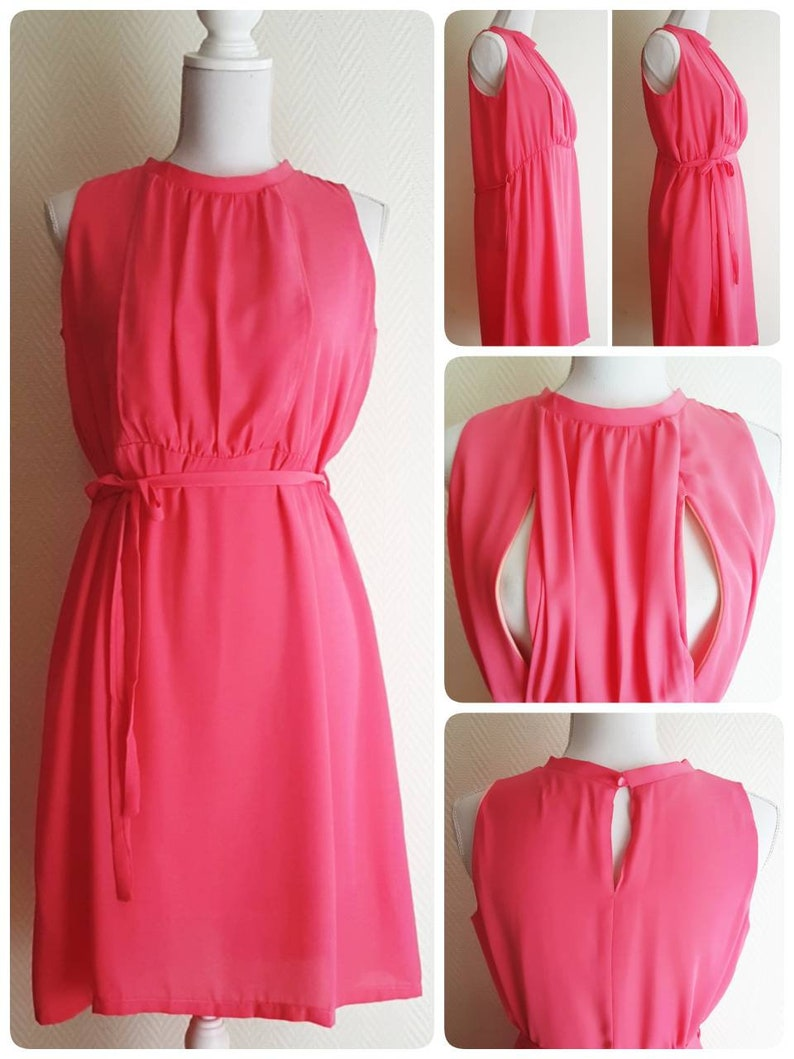 New Stylish Practical Maternity Breastfeeding Nursing Christening Baptism Wedding Guest Party 2in1 Coral Pink Dress Freesize Ready To Ship