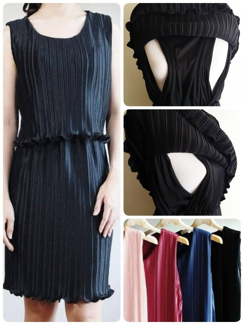 New Ready To Ship Stylish Pleated Dress Practical Breastfeeding Nursing Dress For Work Wedding Guest Party Baptism Christening Freesizesml
