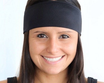 Black Solid   Fitness headband   Black Yoga headband   Fashion headband   Running Headband   Workout Headband   Shiny   Buy 4, Get 1 FREE!