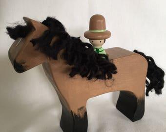 Wooden Buckskin with Cowboy peg doll rider