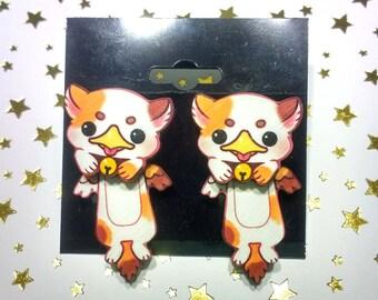 Griffin Kitten Wood Earrings